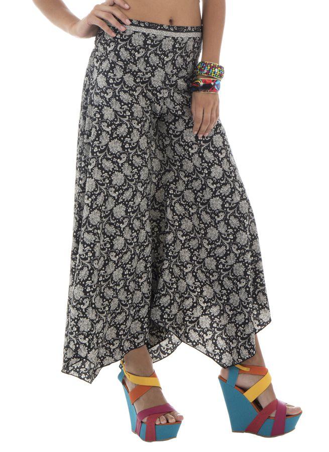 Pantalon tendance coupe asymétrique avec imprimés ethniques Britani 291871