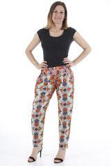 Pantalon très féminin imprimé ethnique et confortable Paulo 310391