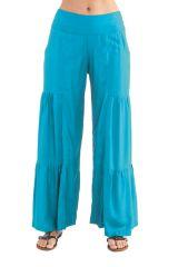 Pantalon Turquoise pour femme Coloré et Original à Volants Donald 282349