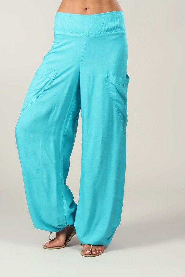 Pantalon turquoise pour femme fluide et agréable Cédric 318551