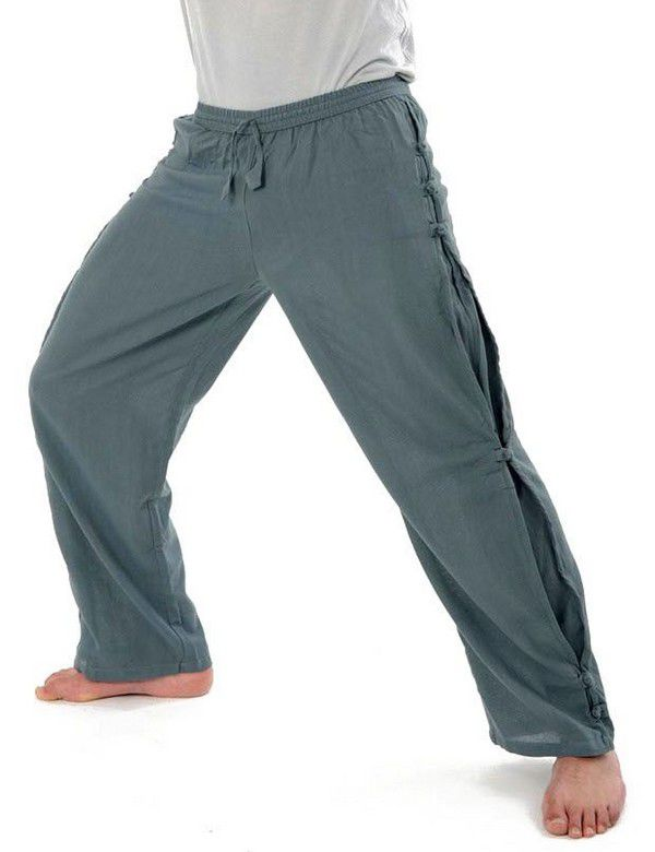 date de sortie 98db0 8667e Pantalon unisexe style japonais de couleur uni original bleu-gris Azuka
