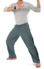 Pantalon unisexe style japonais de couleur uni original bleu-gris Azuka 303963