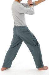 Pantalon unisexe style japonais de couleur uni original bleu-gris Azuka 303964