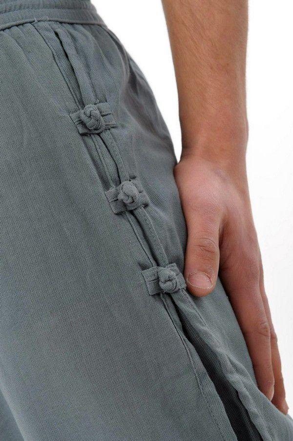 Pantalon unisexe style japonais de couleur uni original bleu-gris Azuka 303965