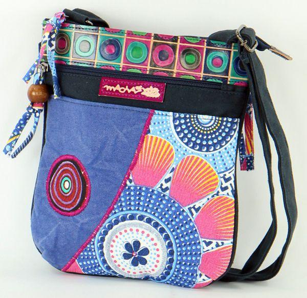 Pochette Bleue Originale pour Femme Coton et Cuir Macha Sardane 277702