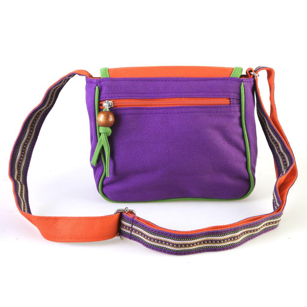 Pochette en bandoulière avec rabat motif cuir violet Mylène 297178