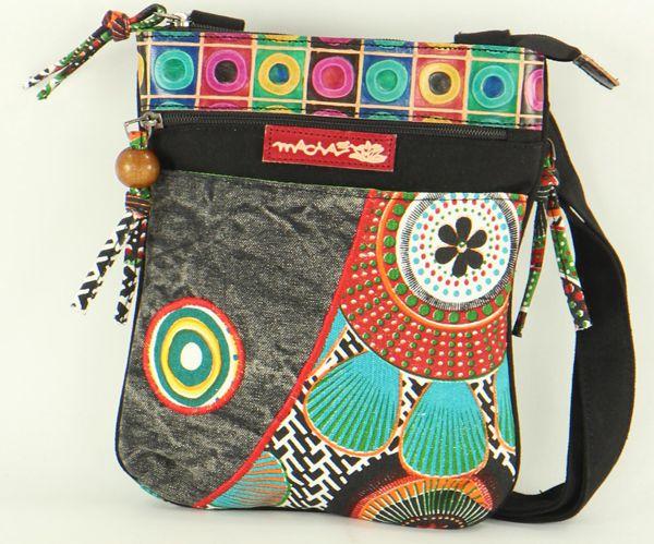 Pochette Macha pour Femme en Coton et Cuir Originale Sardane Noire 277700