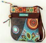 Pochette Originale pour Femme Coton et Cuir Macha Sardane Marron 277698