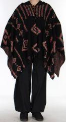 Poncho à capuche Ethnique et Original Salomon noir 275980
