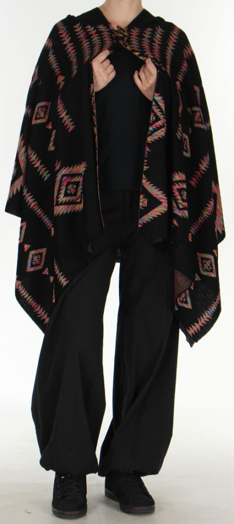 Poncho à capuche Ethnique et Original Salomon noir 275981