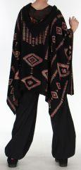 Poncho à capuche Ethnique et Original Salomon noir 275982