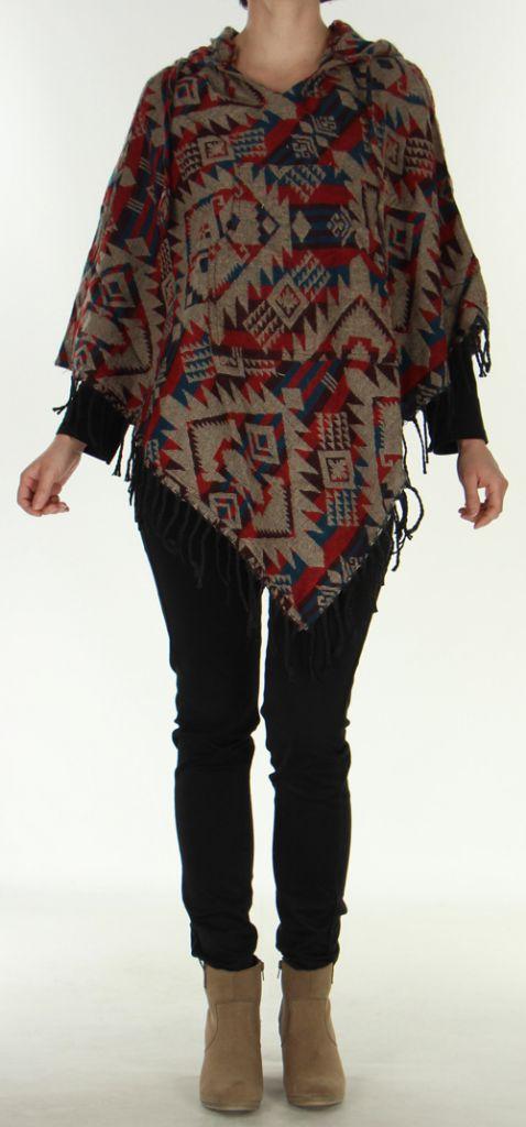 Poncho à capuche Mixte Original et fabriqué au Népal Dharan Beige 278102