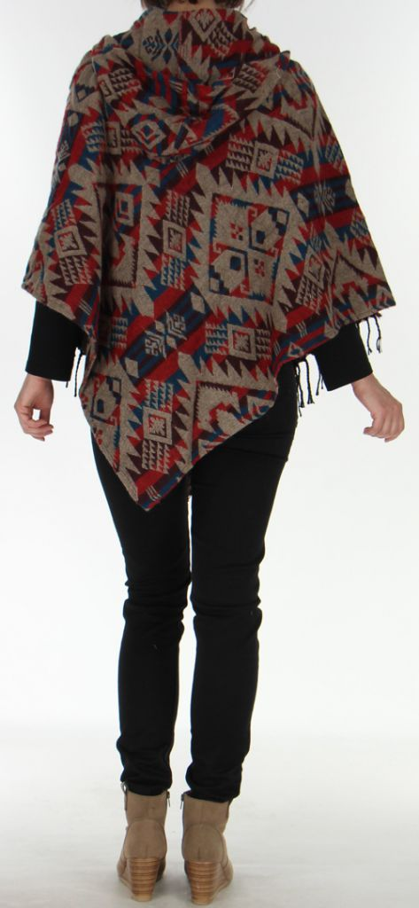 Poncho à capuche Mixte Original et fabriqué au Népal Dharan Beige 278103