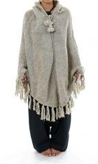 Poncho en laine chaud et confortable gris clair Payer 303173