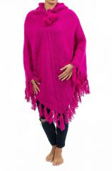 Poncho en laine chaud tendance ethnique rose Flawa 303165