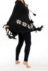 Poncho en laine fantaisie et original ethnique noir et blanc Prale 303185