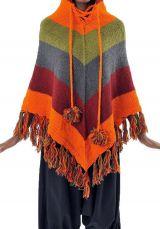 Poncho en laine multicolore de fabrication artisanal Népalaise Payer 303170