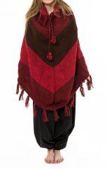 Poncho en laine multicolore tendance Népalaise rouge et marron Payer 303168