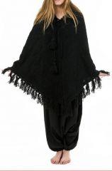 Poncho en laine sobre et tendance ethnique noir Payer 303183