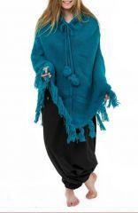 Poncho en laine tendance et chaud de couleur rouge turquoise Flawa 303163
