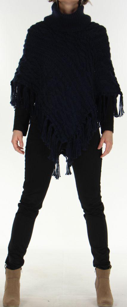 Poncho Original pour Femme style Tricot Glascow Marine 278248