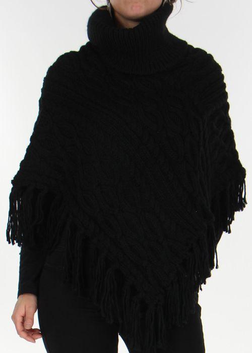 Poncho pour Femme style Tricot Original Glascow Noir 278241