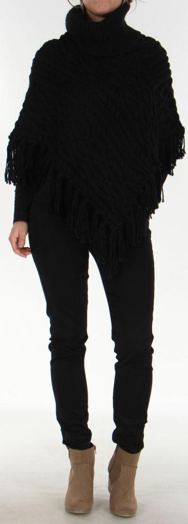 Poncho pour Femme style Tricot Original Glascow Noir 278242