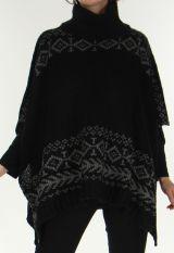 Poncho pour Femme Tendance aux motifs Aztèques Painal Noir 278256