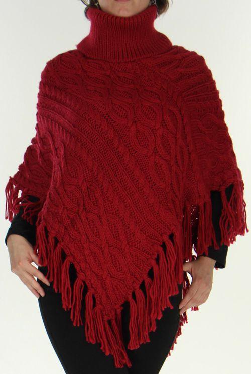 Poncho style Tricot pour Femme Original Glascow Bordeaux 278244