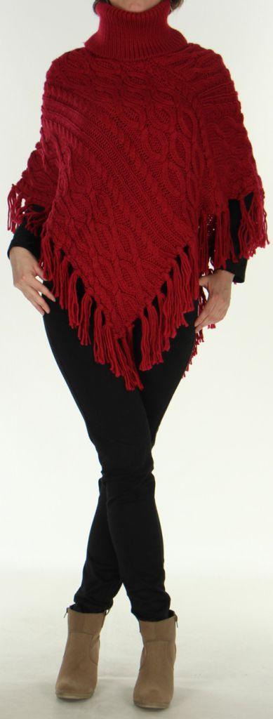 Poncho style Tricot pour Femme Original Glascow Bordeaux 278245