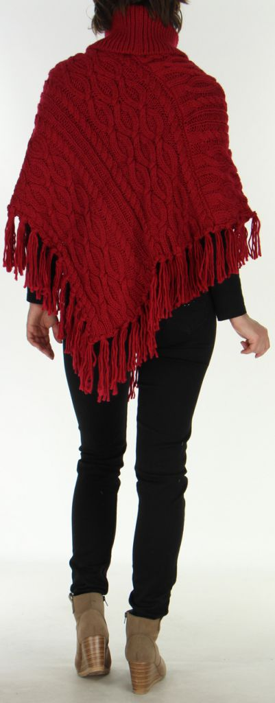 Poncho style Tricot pour Femme Original Glascow Bordeaux 278246
