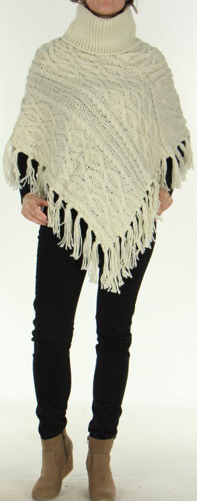 Poncho style Tricot pour Femme Original Glascow Ecru 278251