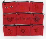 Porte monnaie brodé rouge 238047