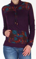 Pull ethnique coloré à joli col montant pour femme violet Gaby 278411