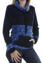 Pull femme ethnique original et imprimé coloré noir Plaima 304074