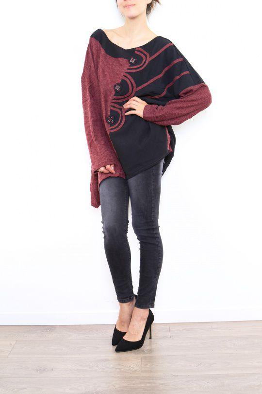Pull femme ethnique pour un look original Cilia bordeaux 304485