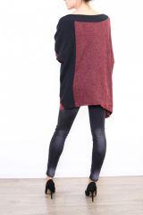 Pull femme ethnique pour un look original Cilia bordeaux 304486