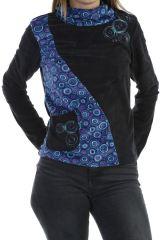 Pull femme original et ethnique noir imprimé de cercle bleu Joulia 304032