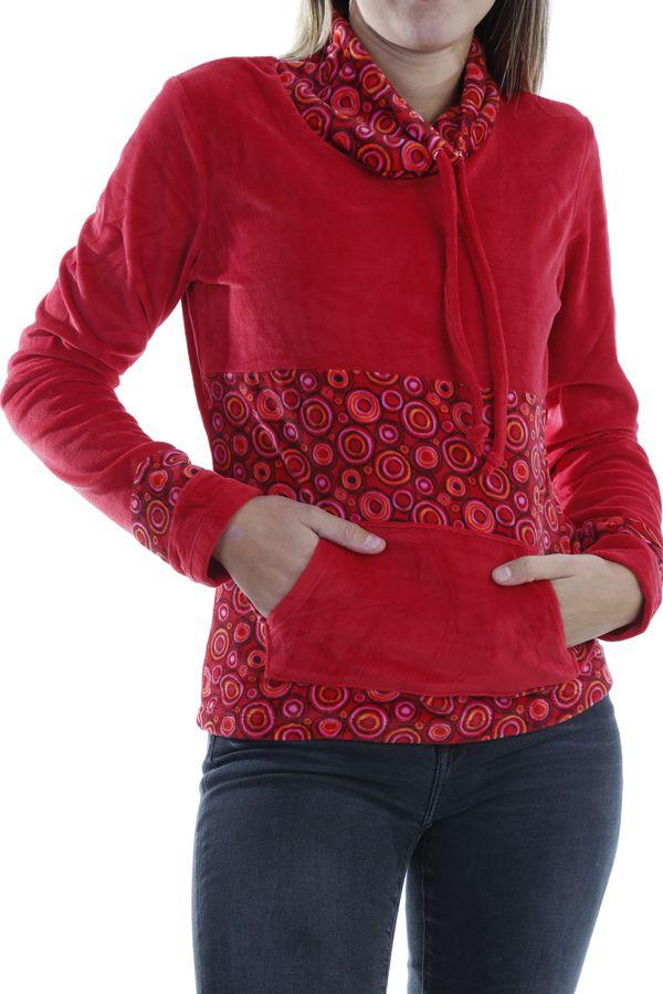 prix abordable Quantité limitée mode Pull femme pas cher à col roulé coloré rouge Plaima