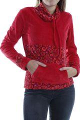 Pull femme pas cher à col roulé coloré rouge Plaima 304068