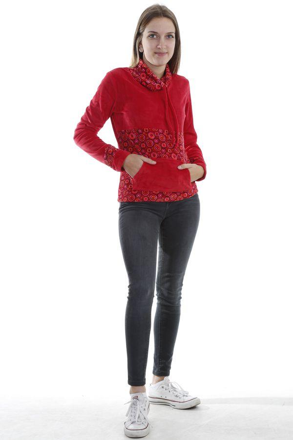 Pull femme pas cher à col roulé coloré rouge Plaima 304069