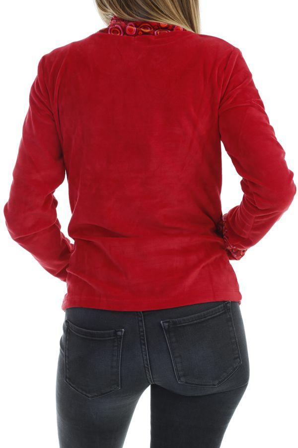 Pull femme pas cher à col roulé coloré rouge Plaima 304070