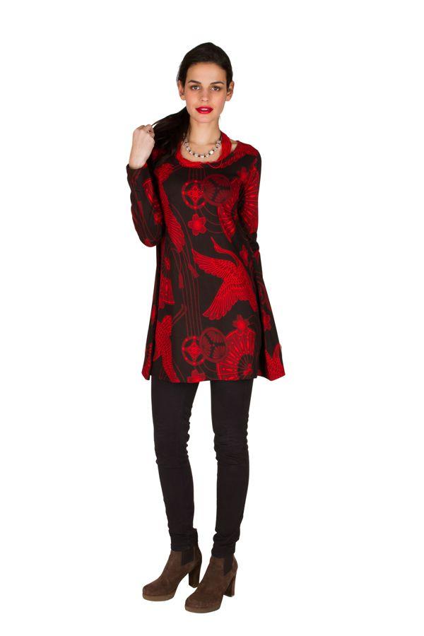 RLa Robe tendance courte imprimé de motifs asiatique Rouge Seven 301825