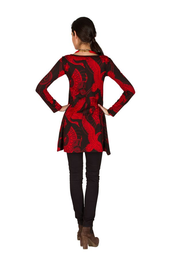 RLa Robe tendance courte imprimé de motifs asiatique Rouge Seven 301827