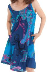 Robe à bretelles Bleue Imprimée Baltiks et Pas chère Rouky 280164