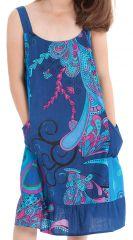 Robe à bretelles Bleue Imprimée Baltiks et Pas chère Rouky 280165
