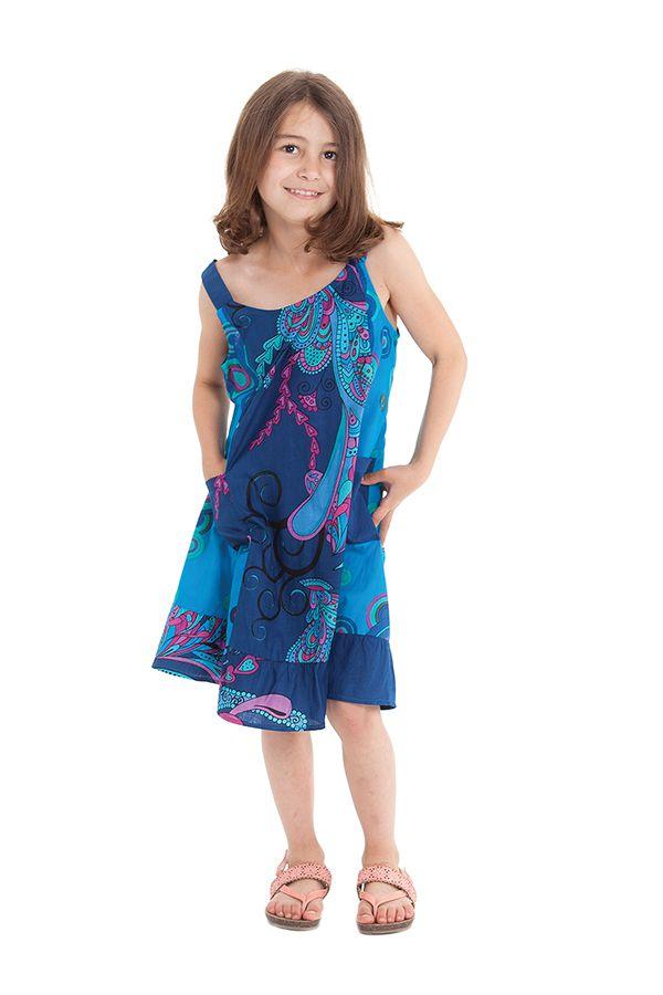 Robe à bretelles Bleue Imprimée Baltiks et Pas chère Rouky 280166