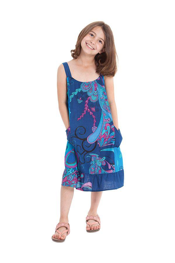 Robe à bretelles Bleue Imprimée Baltiks et Pas chère Rouky 280167
