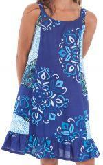 Robe à bretelles Imprimée et Pas chère Rouky Bleue à Mandalas 280162