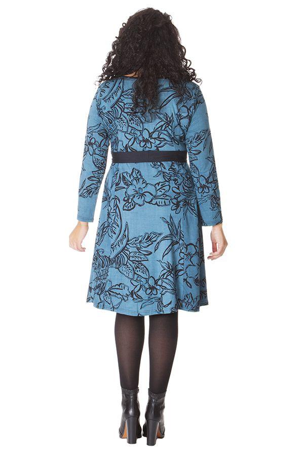 robe ceinture amovible ethnique et imprim e bleue kimmy. Black Bedroom Furniture Sets. Home Design Ideas